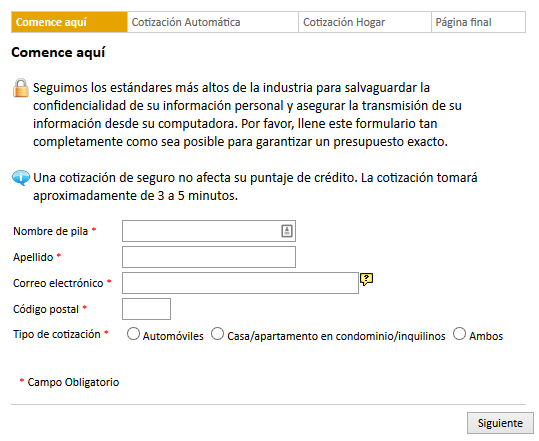 EZLynx Consumer Quoting Spanish