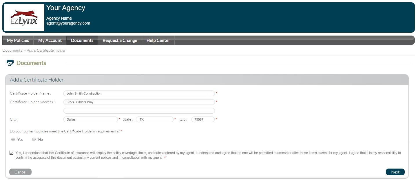 Client Center Add New Holder Step 1