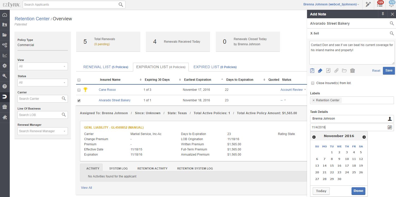 EZLynx Retention Center - Account Management