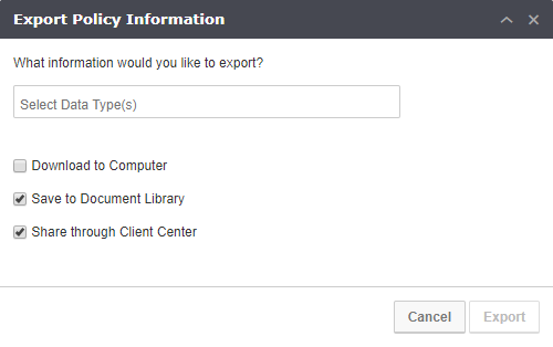 Share in Client Center