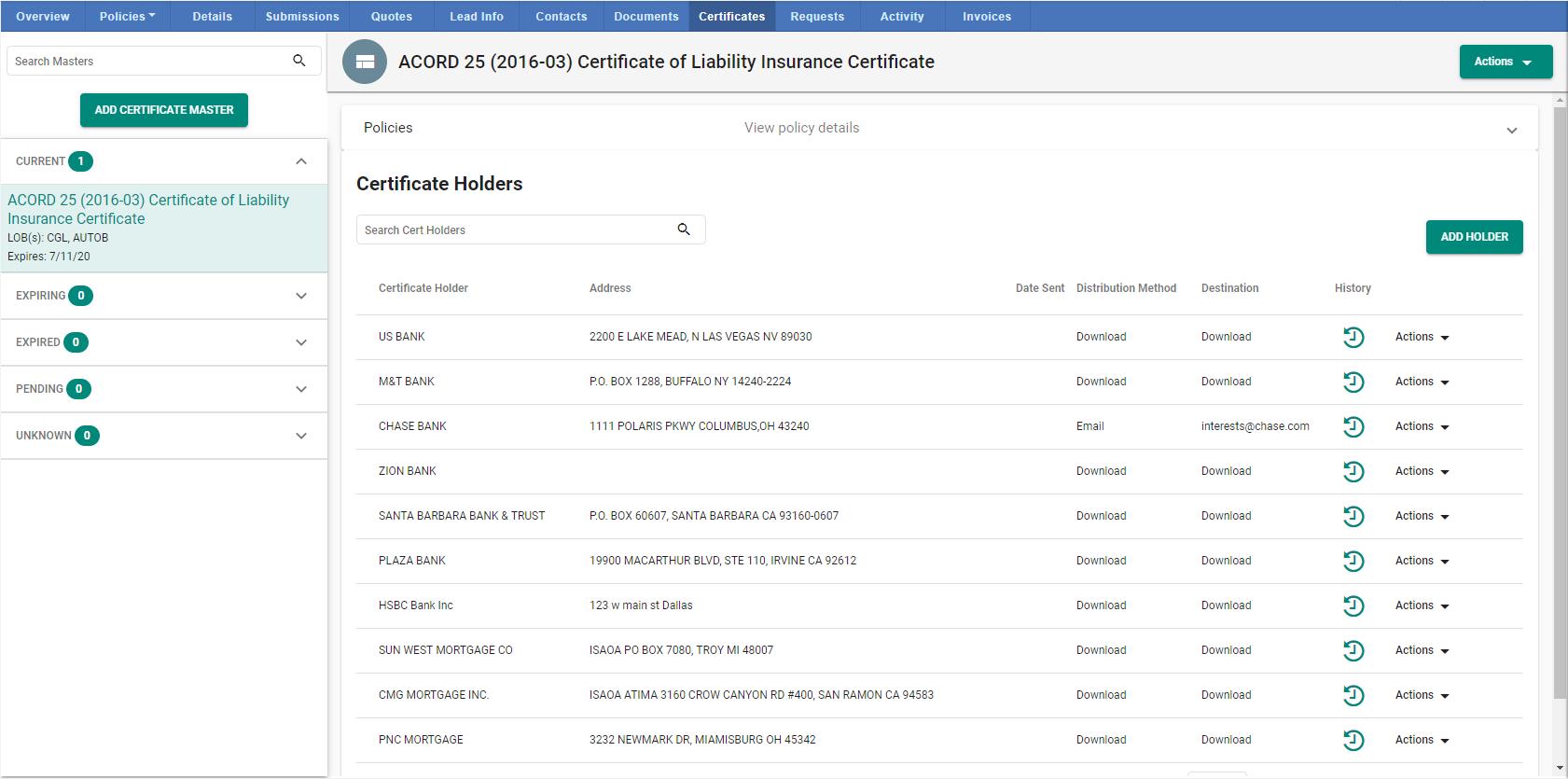 Certificate Master Home Screen